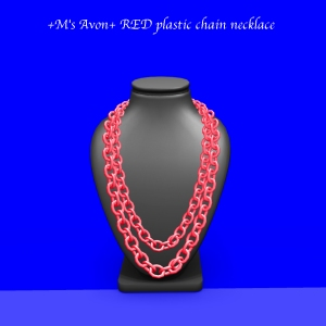 +M's Avon+ RED plastic chain necklace_001