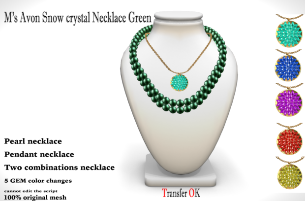 +M's Avon Snow crystal Necklace Green