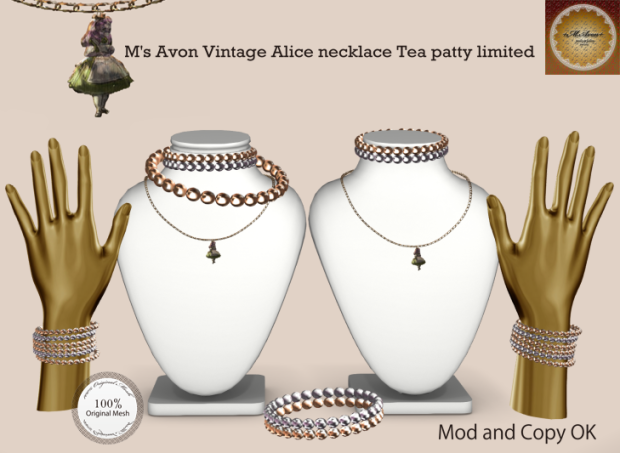 M's Avon Vintage Alice necklaceTea patty-limited