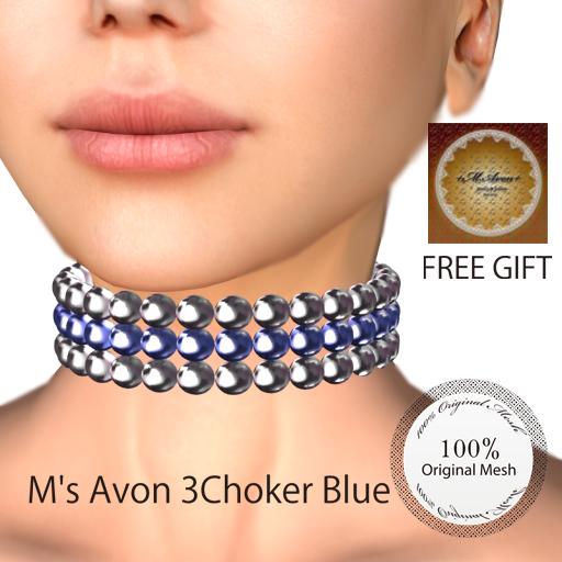 +M's Avon+3Choker_Blue