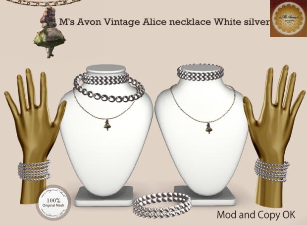 +M's Avon+Vintage Alice necklaceWhite silver