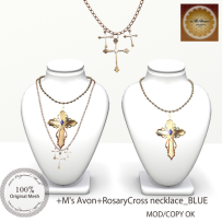 +M's Avon+Rosary Necklace_Blue