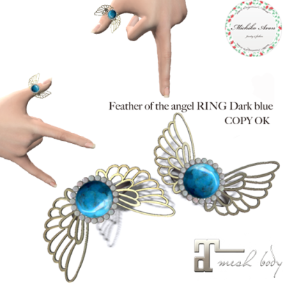 +M's Avon+Feather of the angel RING Dark blue