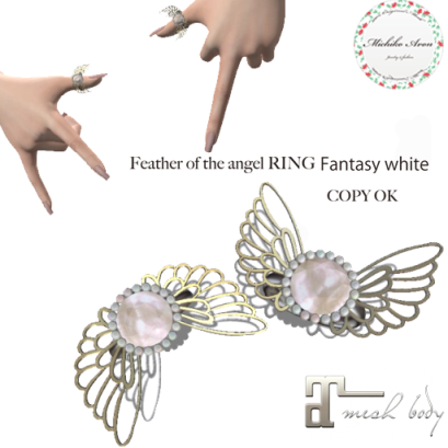 +M's Avon+Feather of the angel RING Fantasy white